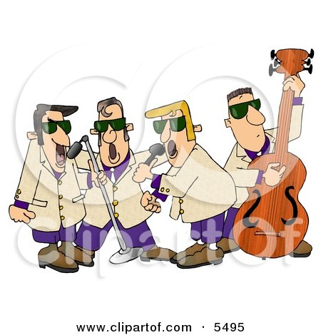 Musicians Playing 1950's Style Blues Music Clipart Illustration by djart