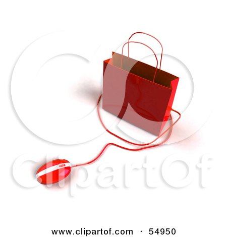 Royalty-Free (RF) Clipart Illustration of a 3d Red Shopping Bag With A Computer Mouse by Julos