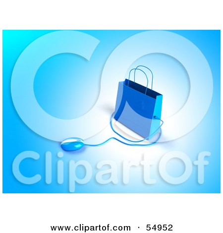 Royalty-Free (RF) Clipart Illustration of a 3d Blue Shopping Bag With A Computer Mouse - Version 1 by Julos