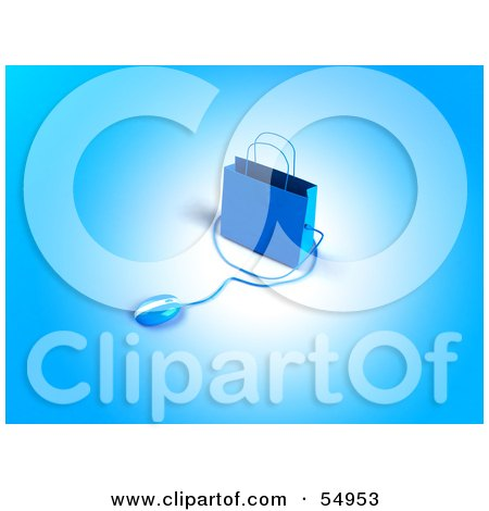 Royalty-Free (RF) Clipart Illustration of a 3d Blue Shopping Bag With A Computer Mouse - Version 2 by Julos