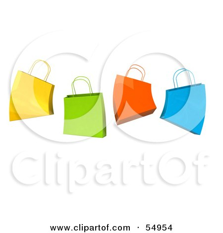 Royalty-Free (RF) Clipart Illustration of a 3d Group Of Colorful Jumping Shopping Bags by Julos