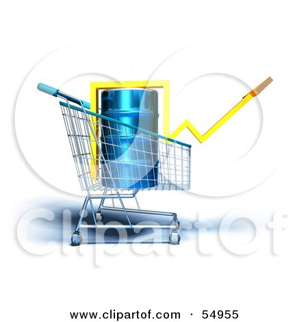 Royalty-Free (RF) Clipart Illustration of a 3d Arrow Over An Oil Barrel In A Shopping Cart - Version 4 by Julos