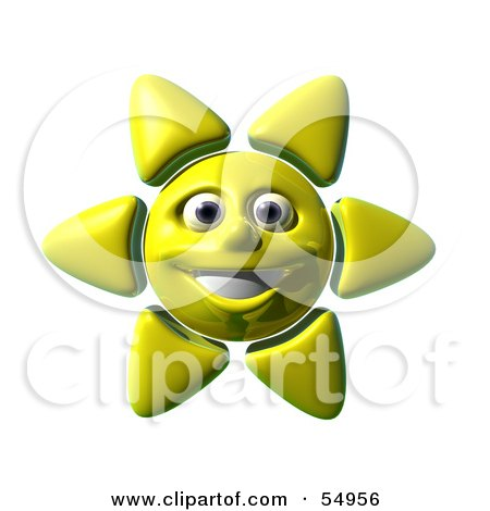Royalty-Free (RF) Clipart Illustration of a 3d Cheery Yellow Sun Smiling - Version 1 by Julos