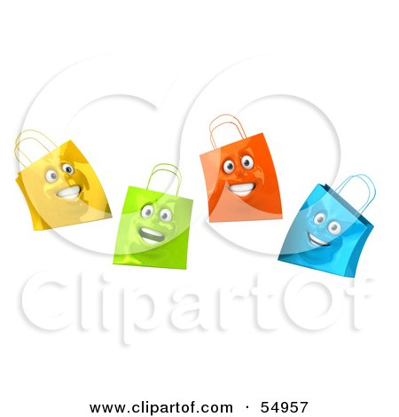 Royalty-Free (RF) Clipart Illustration of a 3d Group Of Four Happy Colorful Shopping Bag Faces by Julos