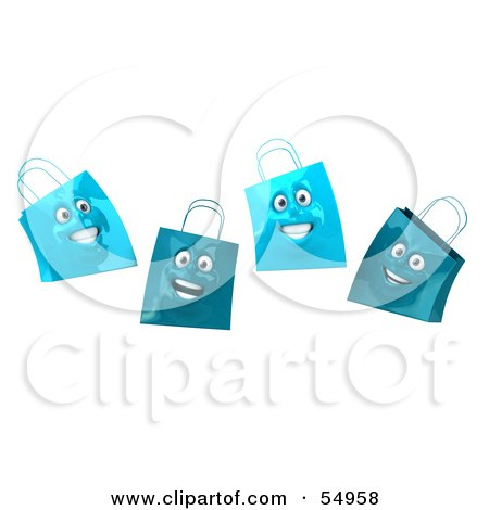 Royalty-Free (RF) Clipart Illustration of a 3d Group Of Four Happy Blue Shopping Bag Faces by Julos