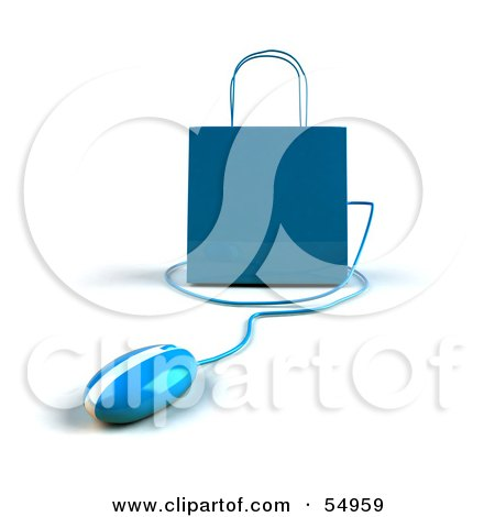 Royalty-Free (RF) Clipart Illustration of a 3d Blue Shopping Bag With A Computer Mouse - Version 5 by Julos