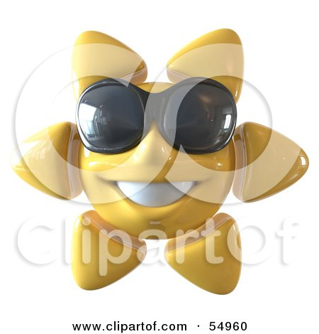 Royalty-Free (RF) Clipart Illustration of a 3d Cheery Yellow Sun Smiling And Wearing Shades - Version 1 by Julos