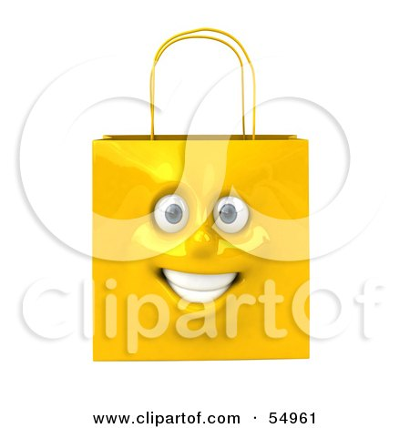 Royalty-Free (RF) Clipart Illustration of a 3d Yellow Shiny Smiling Shopping Bag Head by Julos