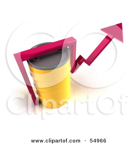 3d Pink Arrow Going Around A Yellow Oil Barrel - Version 4 Posters, Art Prints