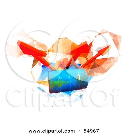 Three 3d Orange Arrows Spanning Over A Blue Oil Barrel - Version 3 Posters, Art Prints