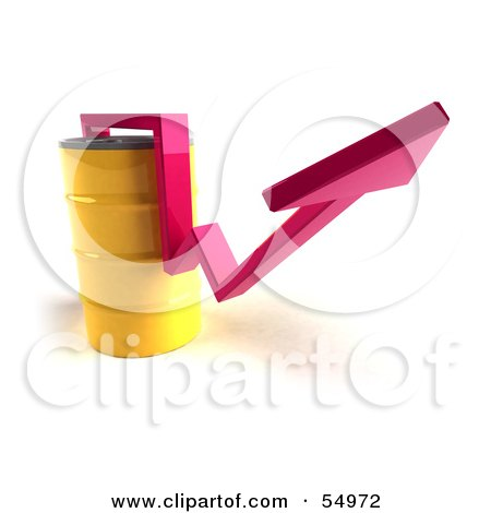 3d Pink Arrow Going Around A Yellow Oil Barrel - Version 2 Posters, Art Prints
