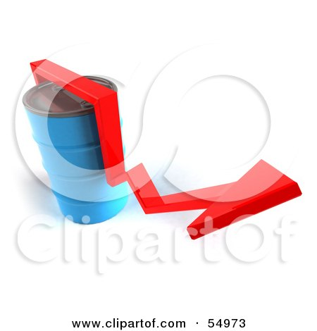3d Red Arrow Going Around A Blue Oil Barrel - Version 3 Posters, Art Prints