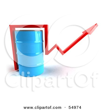 3d Red Arrow Going Around A Blue Oil Barrel - Version 1 Posters, Art Prints