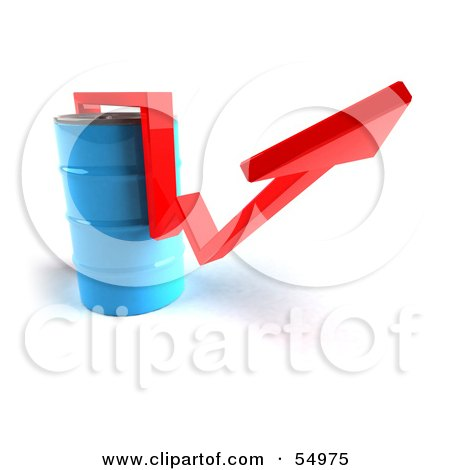 3d Red Arrow Going Around A Blue Oil Barrel - Version 2 Posters, Art Prints