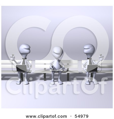 Royalty-Free (RF) Clipart Illustration of 3d Human Like Creature Characters Using Laptops On Park Benches by Julos