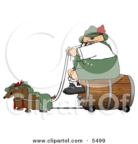 German Man Transporting a Wooden Barrel/Keg of Beer to a Party Clipart Illustration by djart