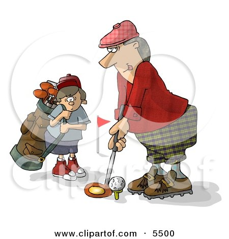 Father And Son Golfing Together Clipart Illustration