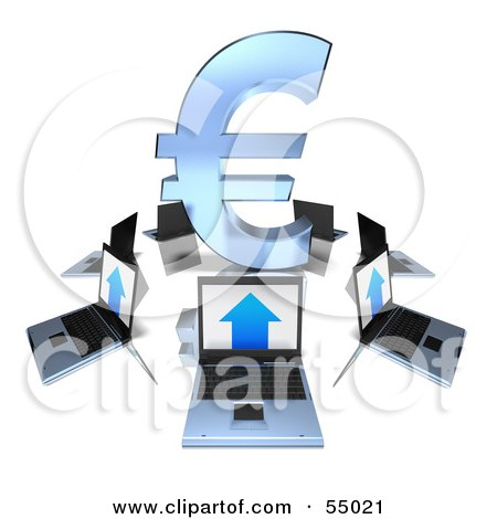 Royalty-Free (RF) Clipart Illustration of 3d Laptops Circling A Blue Euro Symbol by Julos