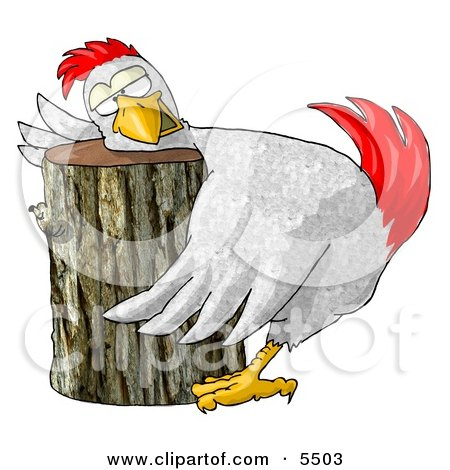 Funny Chicken On a Chopping Block Posters, Art Prints