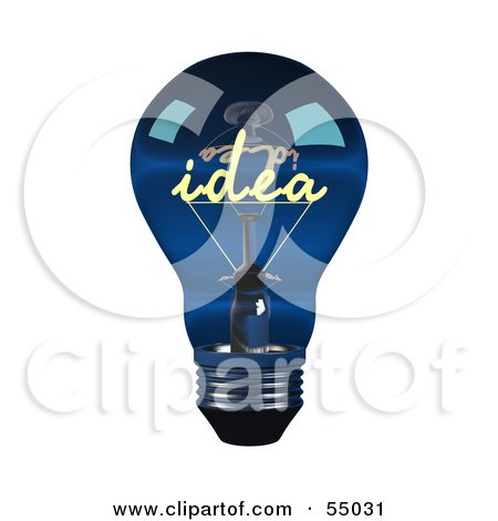 clip art light bulb idea. Royalty-free clipart picture of a 3d blue glass idea light bulb - version 1,