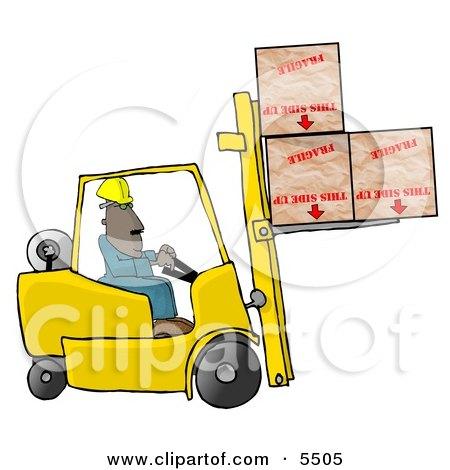Forklift Driver Delivering Fragile Boxes Upside Down Clipart Illustration by djart