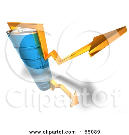 3d Yellow Arrow Going Around A Blue Oil Barrel - Version 4 Posters, Art Prints