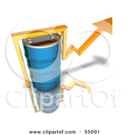 3d Yellow Arrow Going Around A Blue Oil Barrel - Version 2 Posters, Art Prints