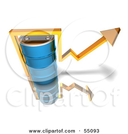 3d Yellow Arrow Going Around A Blue Oil Barrel - Version 3 Posters, Art Prints