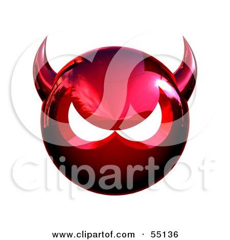 Royalty-Free (RF) Clipart Illustration of a 3d Metal Devil Head Glaring - Version 2 by Julos