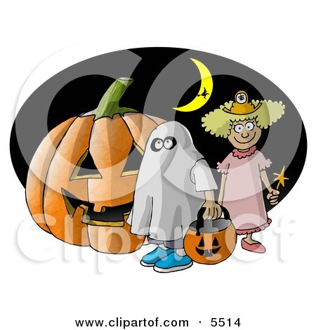 Halloween Pumpkin Trick Or Treaters And Witch Flying In Front Of A Crescent Moon Clipart Illustration