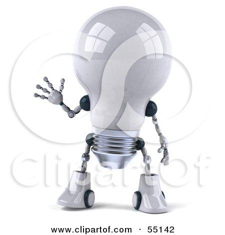 3d Robotic Lightbulb Character Waving - Version 1 Posters, Art Prints