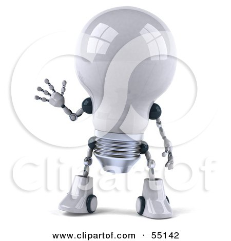 Royalty-Free (RF) Clipart Illustration of a 3d Robotic Lightbulb Character Waving - Version 1 by Julos