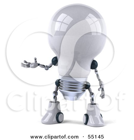 Royalty-Free (RF) Clipart Illustration of a 3d Robotic Lightbulb Character Holding One Hand Out - Version 1 by Julos