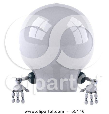 Royalty-Free (RF) Clipart Illustration of a 3d Robotic Lightbulb Character Standing Behind A Blank Sign by Julos