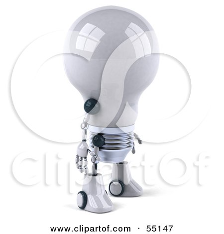 Royalty-Free (RF) Clipart Illustration of a 3d Robotic Lightbulb Character Facing Right by Julos