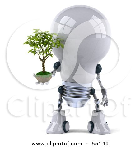 Royalty-Free (RF) Clipart Illustration of a 3d Robotic Lightbulb Character Holding A Plant - Version 1 by Julos