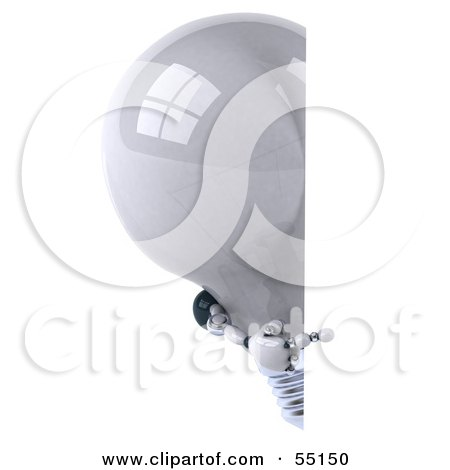 Royalty-Free (RF) Clipart Illustration of a 3d Robotic Lightbulb Character Looking Around A Blank Sign - Version 2 by Julos