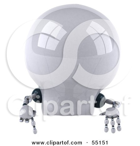 Royalty-Free (RF) Clipart Illustration of a 3d Robotic Lightbulb Character Pointing Down At And Standing Behind A Blank Sign by Julos