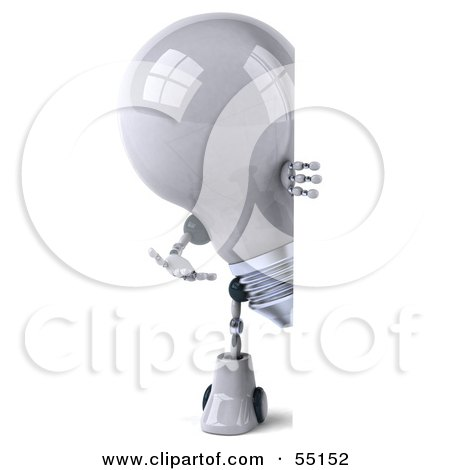 Royalty-Free (RF) Clipart Illustration of a 3d Robotic Lightbulb Character Looking Around A Blank Sign - Version 1 by Julos