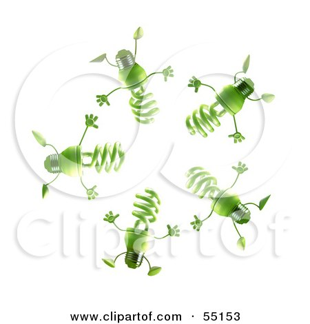Royalty-Free (RF) Clipart Illustration of a Group Of Green 3d Spiral Light Bulb Characters In A Circle by Julos
