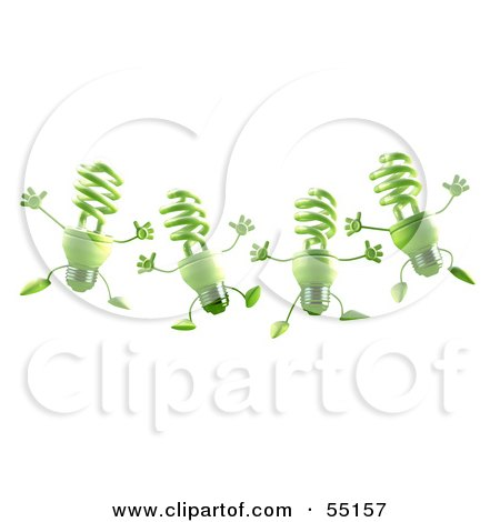Royalty-Free (RF) Clipart Illustration of Four Green 3d Spiral Light Bulb Characters Leaping by Julos