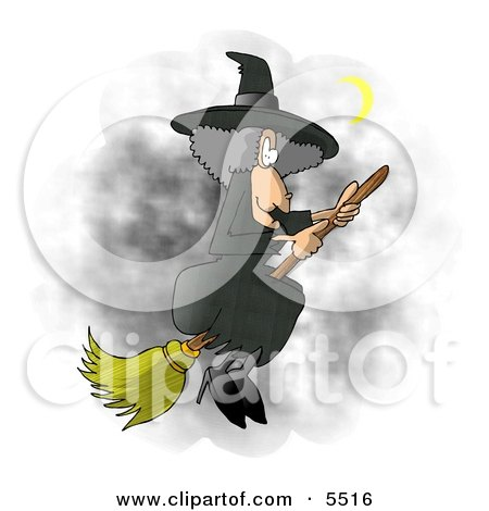 Wicked Witch Flying On a Broomstick In the Dark Night Sky During Halloween Posters, Art Prints