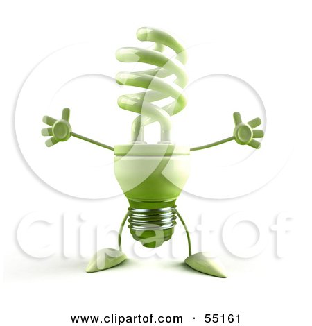Royalty-Free (RF) Clipart Illustration of a Green 3d Spiral Light Bulb Character Holding His Arms Open - Version 3 by Julos