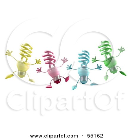 Royalty-Free (RF) Clipart Illustration of Four Colorful 3d Spiral Light Bulb Characters Leaping by Julos