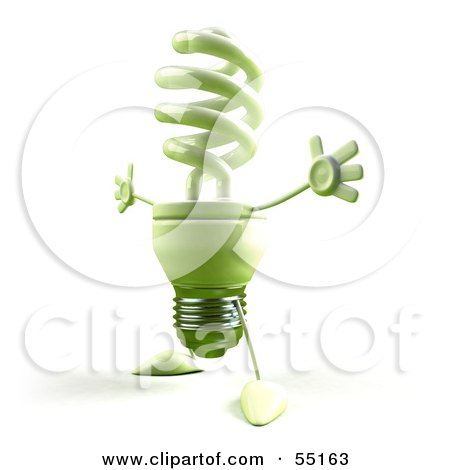 Royalty-Free (RF) Clipart Illustration of a Green 3d Spiral Light Bulb Character Holding His Arms Open - Version 4 by Julos