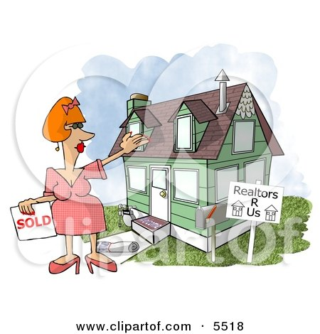 Female Realtor Taking a House Off the Market Clipart Illustration by djart