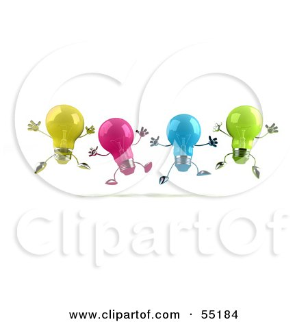 Royalty-Free (RF) Clipart Illustration of a Row Of Colorful 3d Glass Light Bulb Characters Leaping by Julos