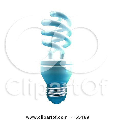 Royalty-Free (RF) Clipart Illustration of a Blue 3d Spiral Light Bulb - Version 1 by Julos