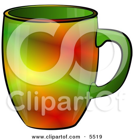 Red & Green Colored Coffee Cup Clipart Illustration by djart