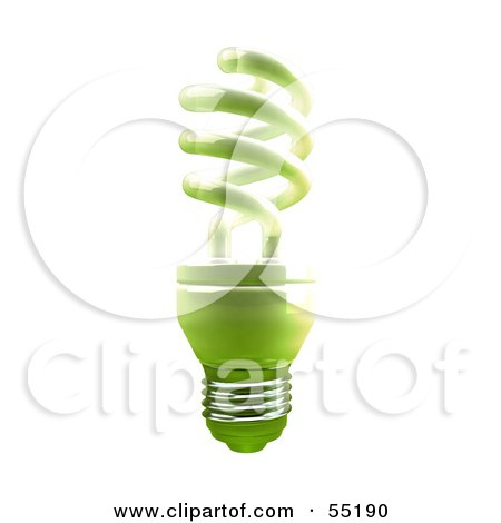 Royalty-Free (RF) Clipart Illustration of a Green 3d Spiral Light Bulb - Version 2 by Julos